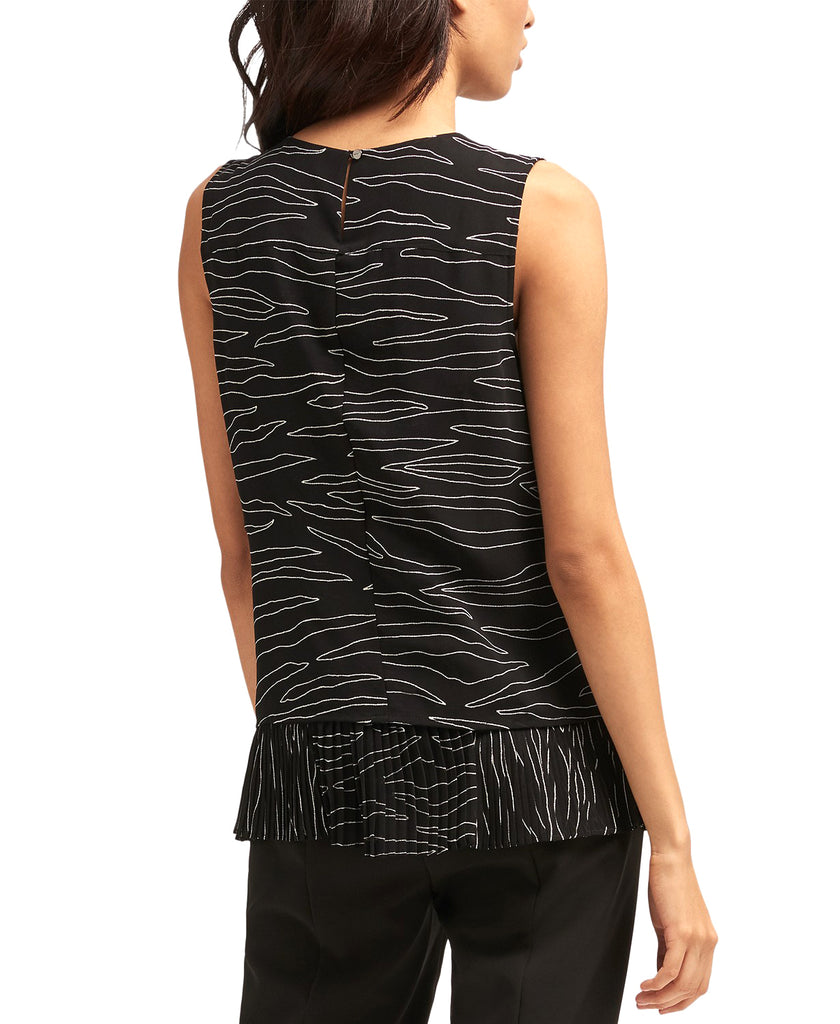 Yieldings Discount Clothing Store's Printed Pleated-Hem Sleeveless Top by DKNY in Black