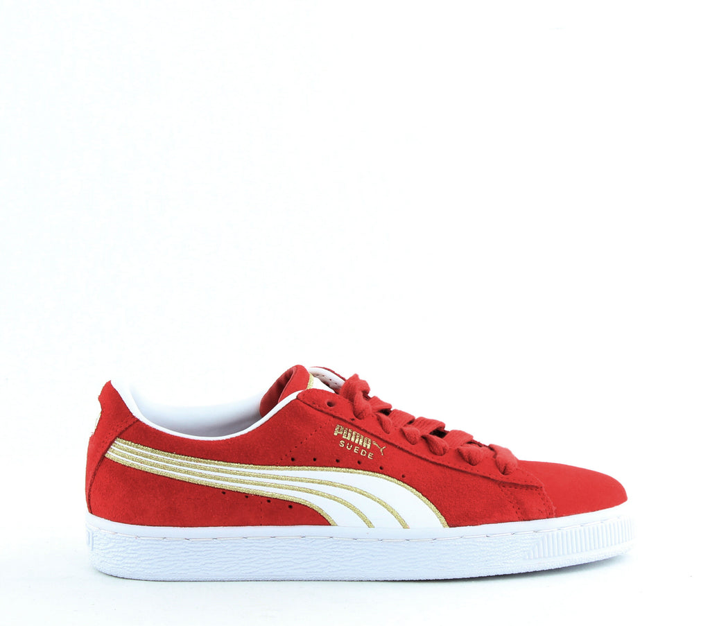 Yieldings Discount Shoes Store's Suede Varsity Sneakers by Puma in Ribbon Red/Puma White