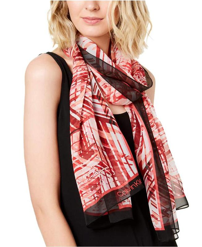 Yieldings Discount Accessories Store's Abstract Silk Chiffon Scarf by Calvin Klein in Rose Quartz