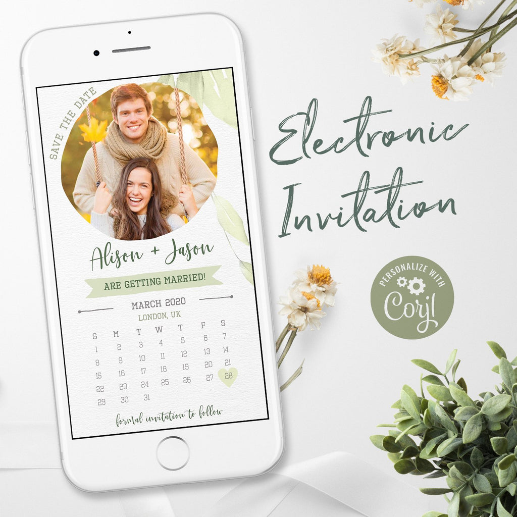 rustic calendar electronic save the date