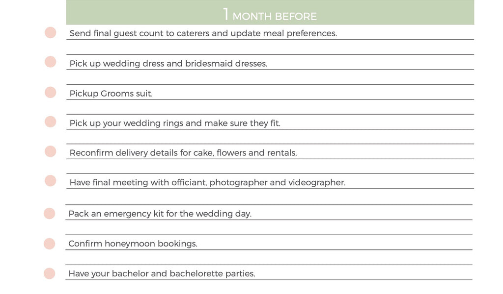 wedding planning 1 month before