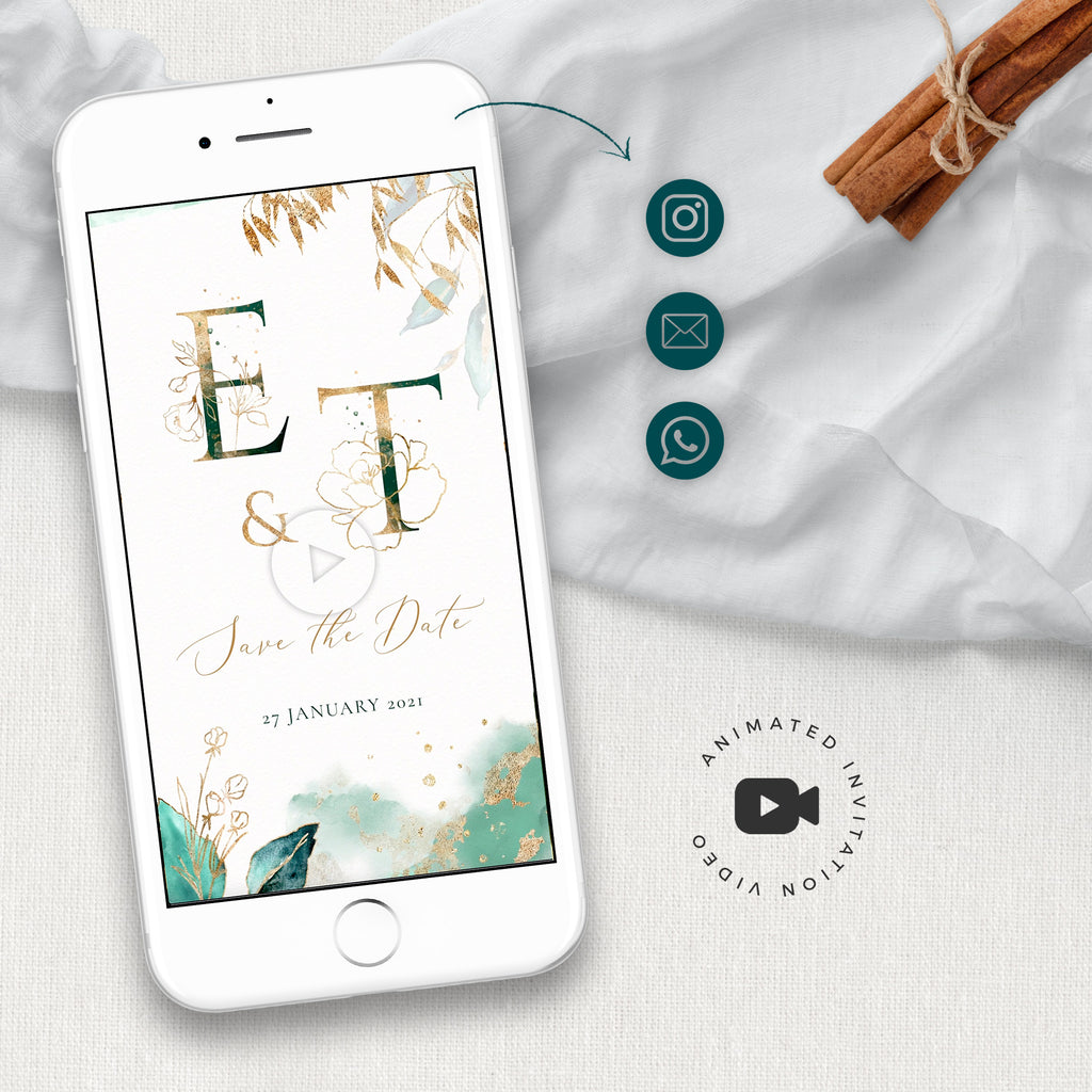 Emerald Green & Gold Animated Save the Date