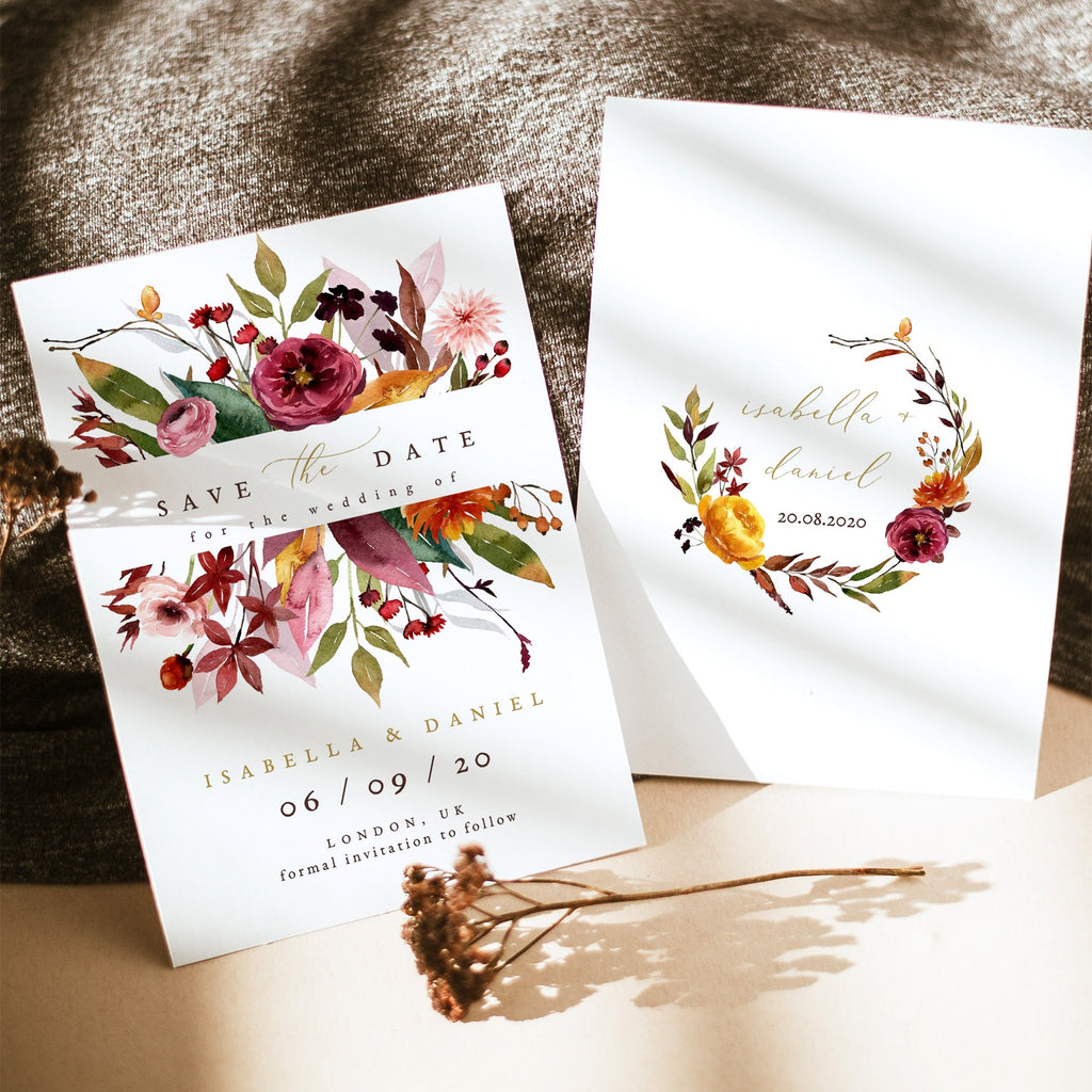 fall wedding save the date template