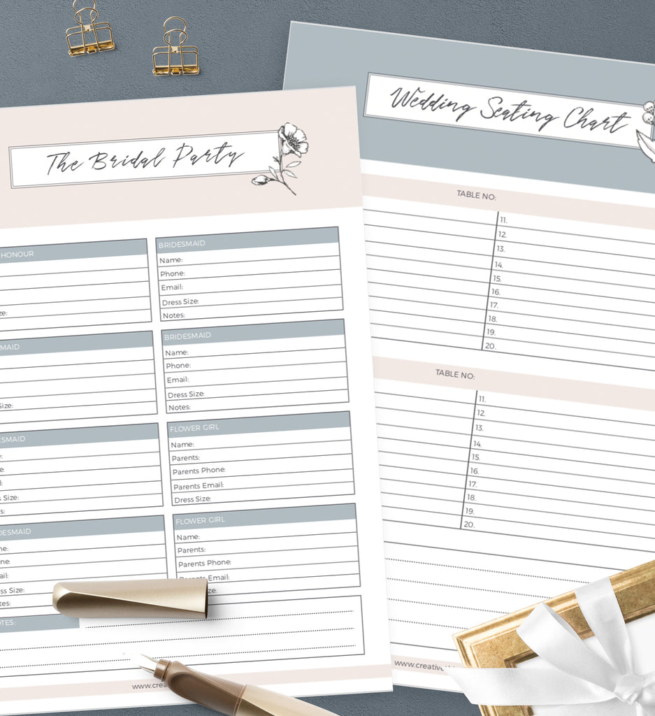 Wedding Seating Chart, The Bridal Party
