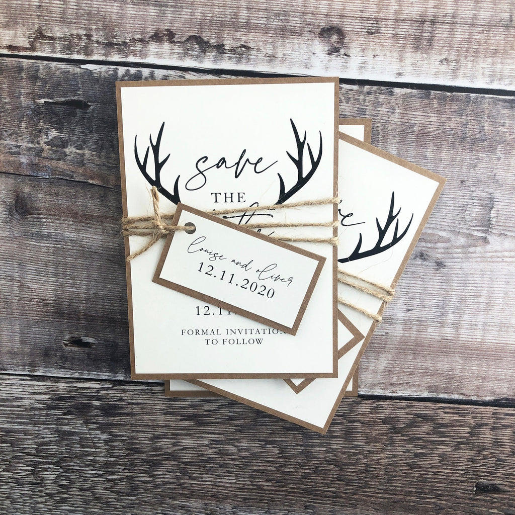 Rustic winter wedding save the date