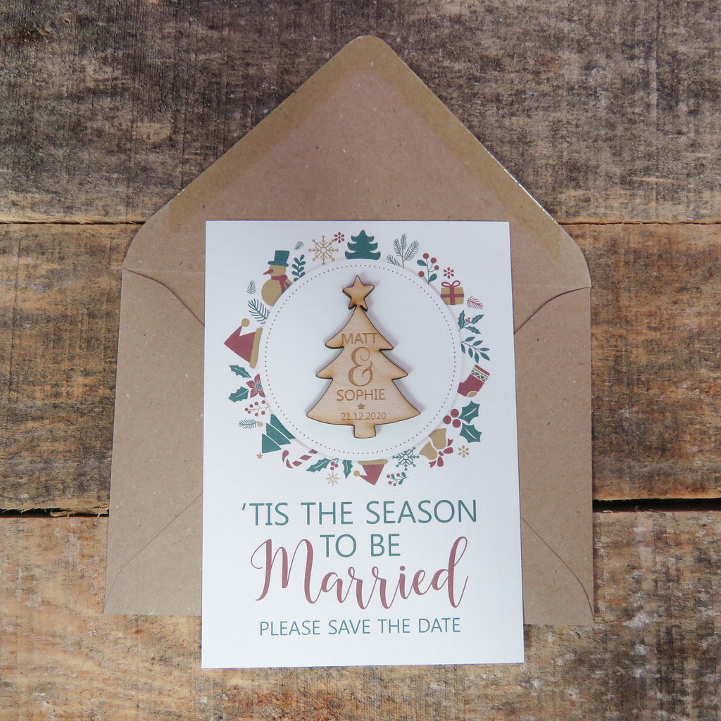 Wooden Christmas Save The Date Magnets