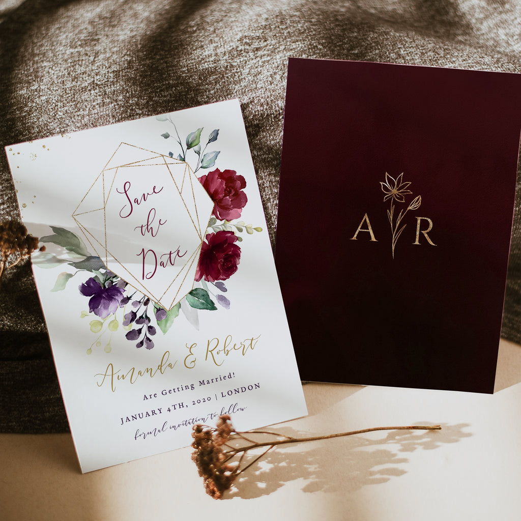 rossella burgundy save the date card