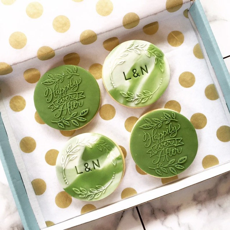 Green Forest inspired Wedding biscuits