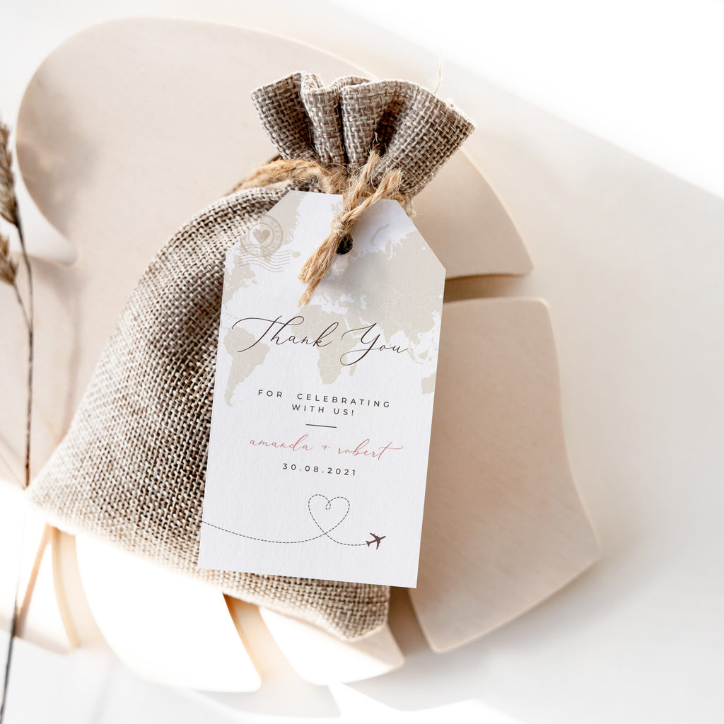 travel themed wedding favour tags