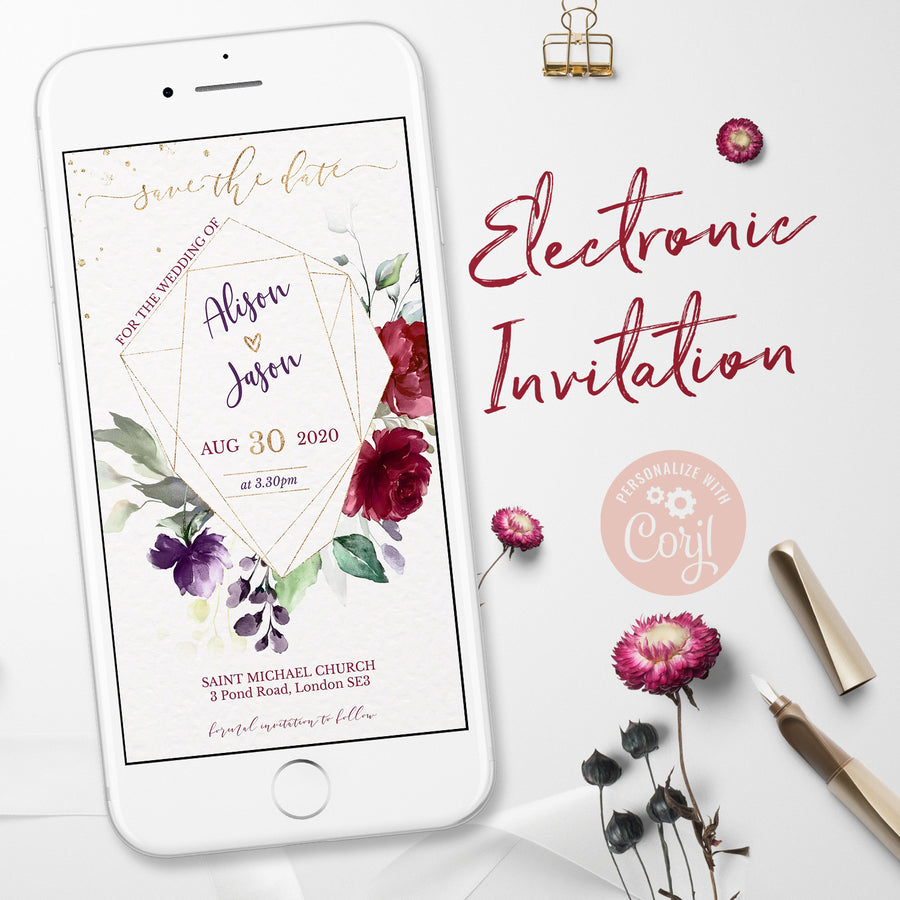 Burgundy Floral Save the Date e-invite