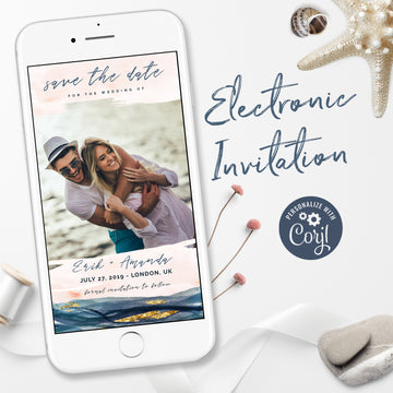 Blush & Navy Photo Save the Date Digital Invitations