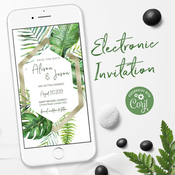Tropical Electronic Save the Date e invitation