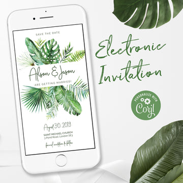 Tropical Wedding Save the Date e Invitations