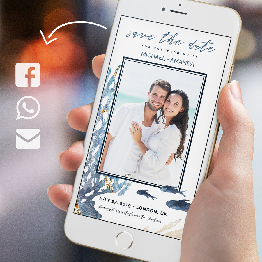 Beach Wedding Photo Save the Date Evite