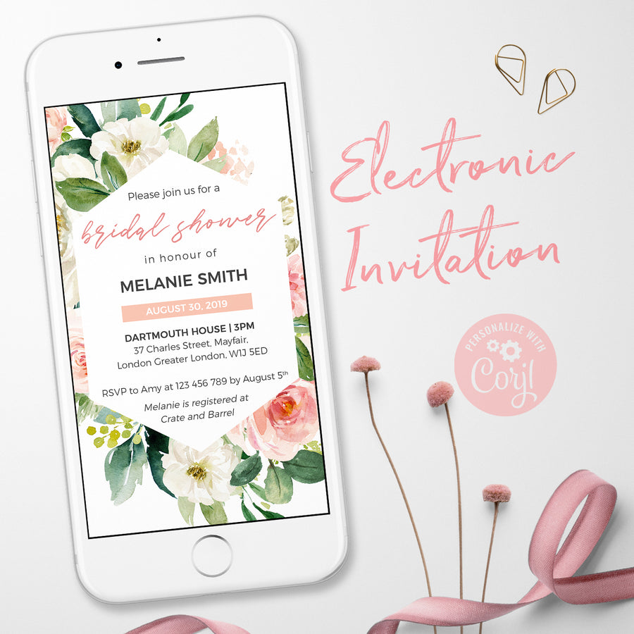 Floral Bridal Shower Invitations Digital Invitations