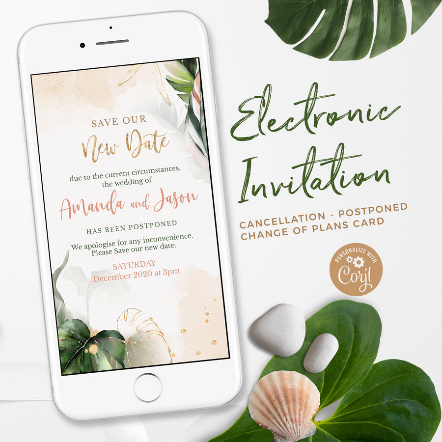 Tropical Change the Date Wedding Invitation