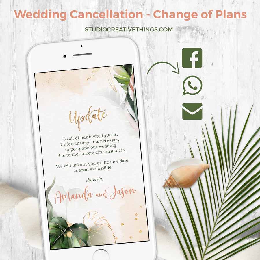 Palma | Tropical Change the Date Wedding Invitation