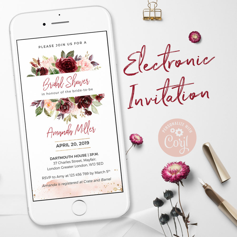 Burgundy Bridal Shower Invitations e Invitations
