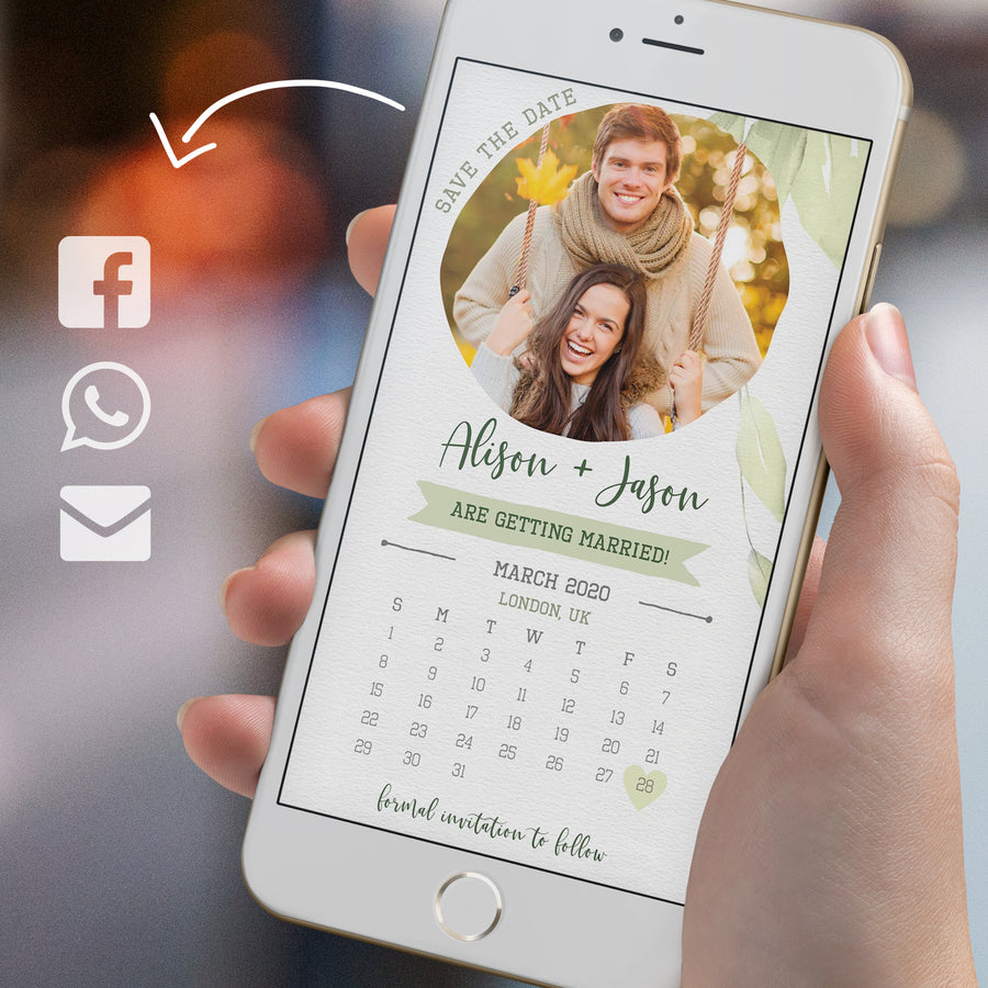 Rustic Calendar Save the Date with Photo Evite