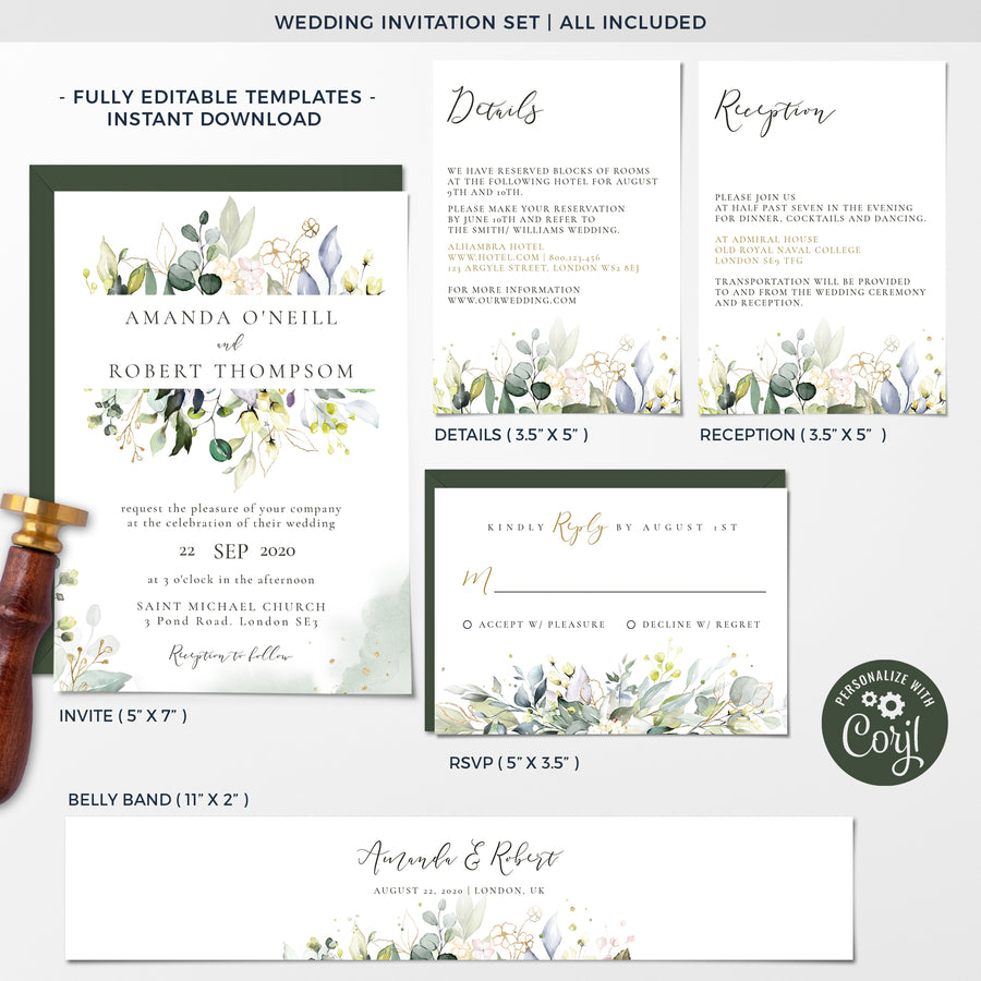 Palma | Tropical Wedding Invitation Set Template