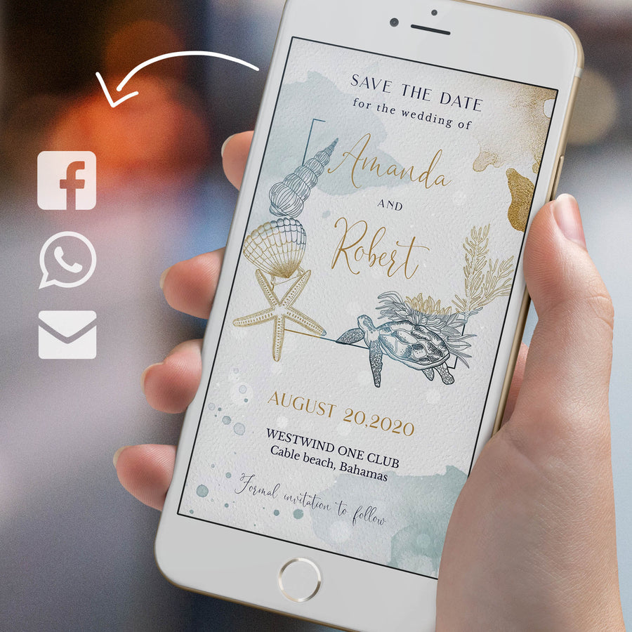 Beach Wedding Save the Date Digital Invitation