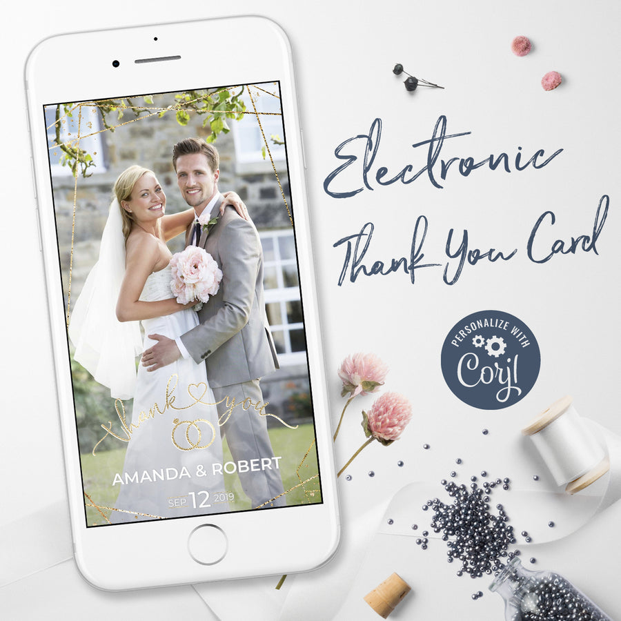Electronic Wedding Thank You Cards with Photo