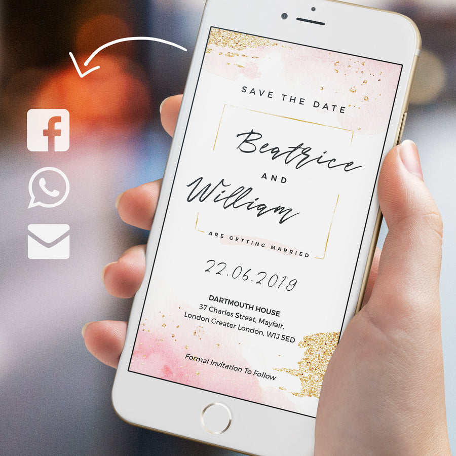 Rose Gold Watercolour Electronic Save the Date