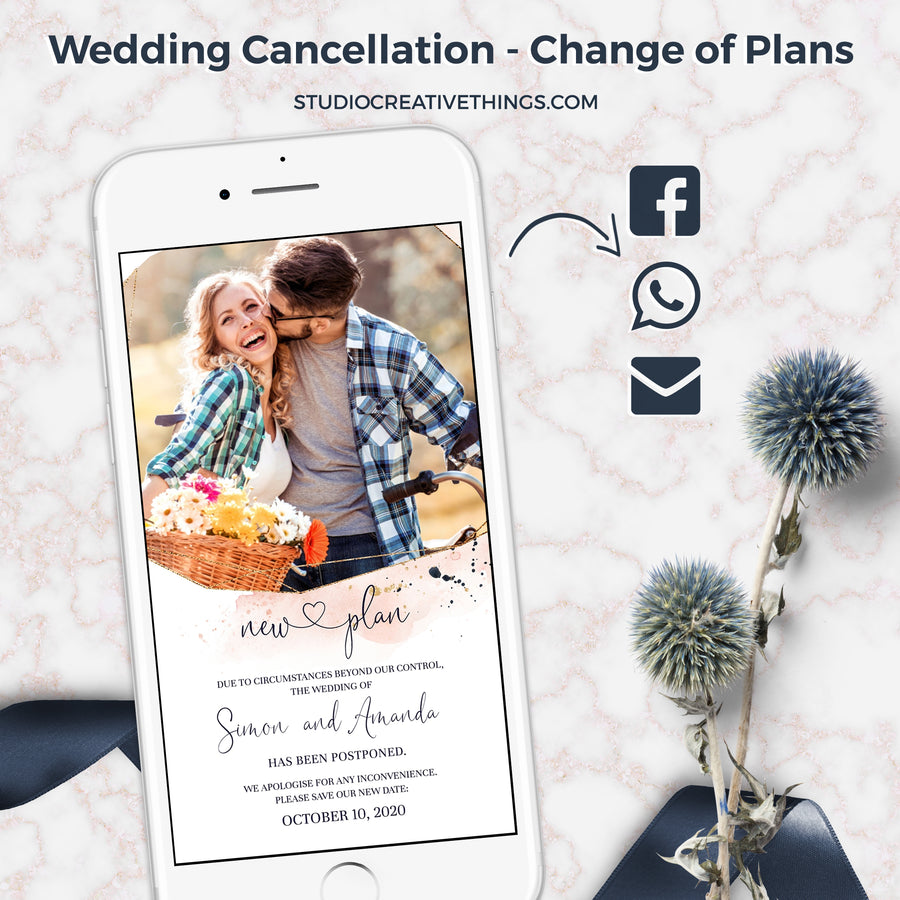 Wedding Postponement Announcement with Photo