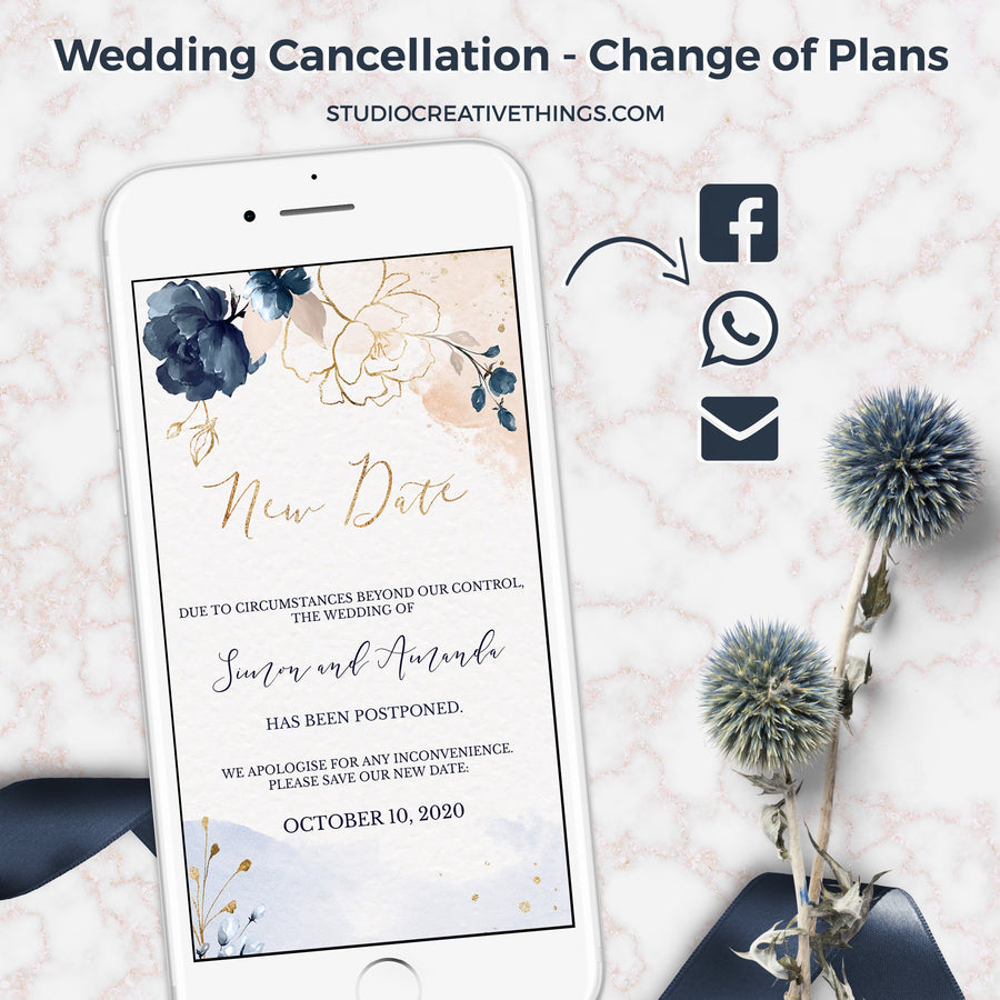 Blush Navy Postponed Wedding Announcement