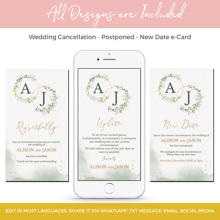 Greenery Wedding Postponed Card