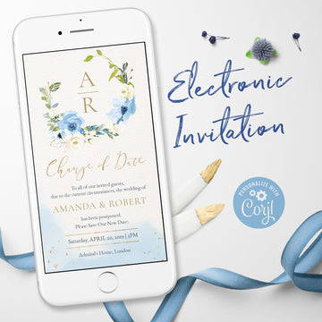 Dusty Blue Change the Date Wedding Invitation