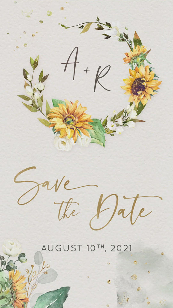 sunflowers white roses save the date