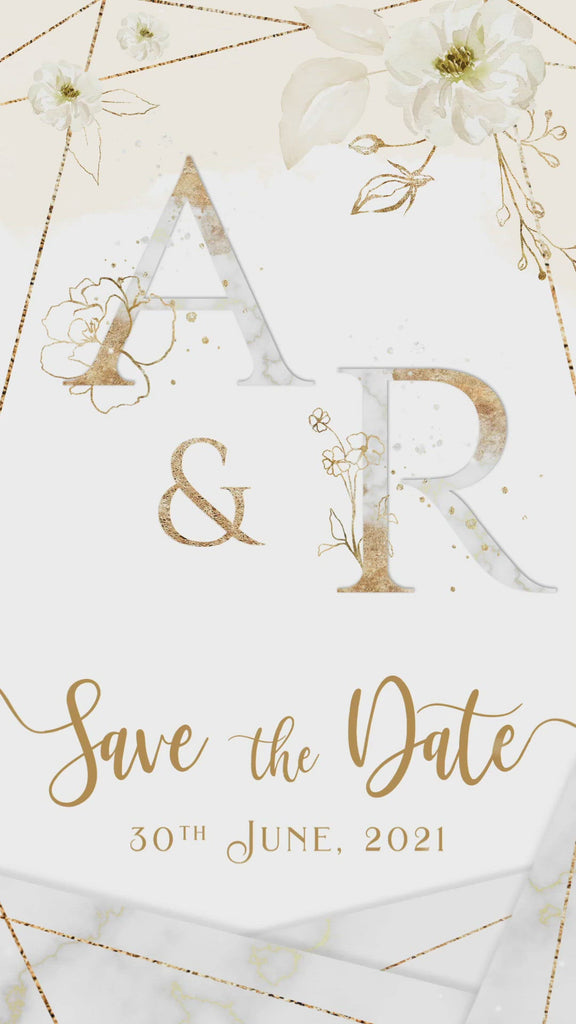 Ivory Gold Save the Date Invitation Video