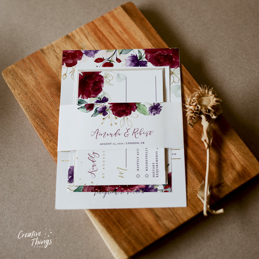 Burgundy Wedding Invitation Set Template