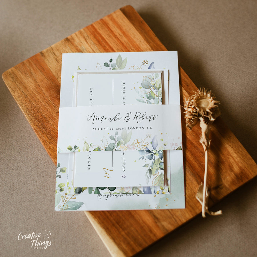 Rustic Wedding Invitation Set Template