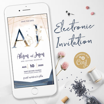 Blush, Navy WhatsApp Electronic Save the Date