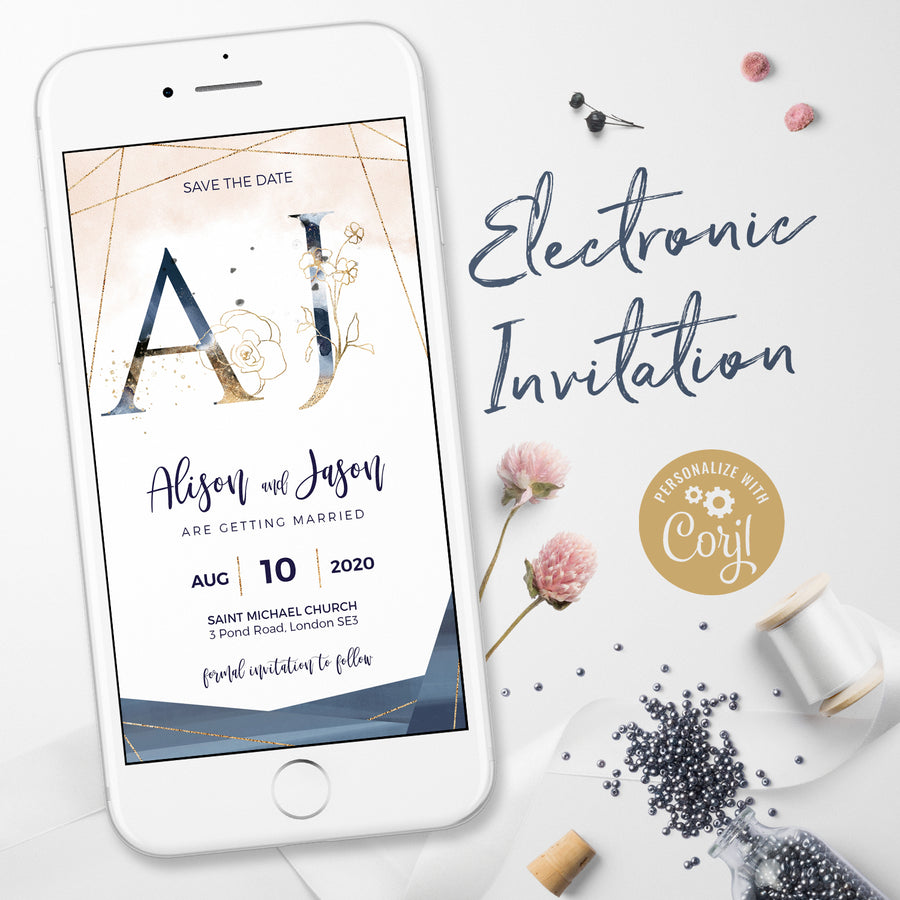 Antea | Blush, Navy WhatsApp Electronic Save the Date