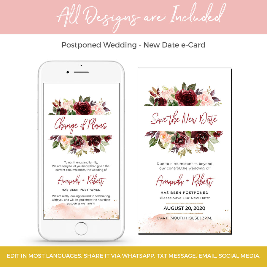 Burgundy Floral Change the Date Wedding Card