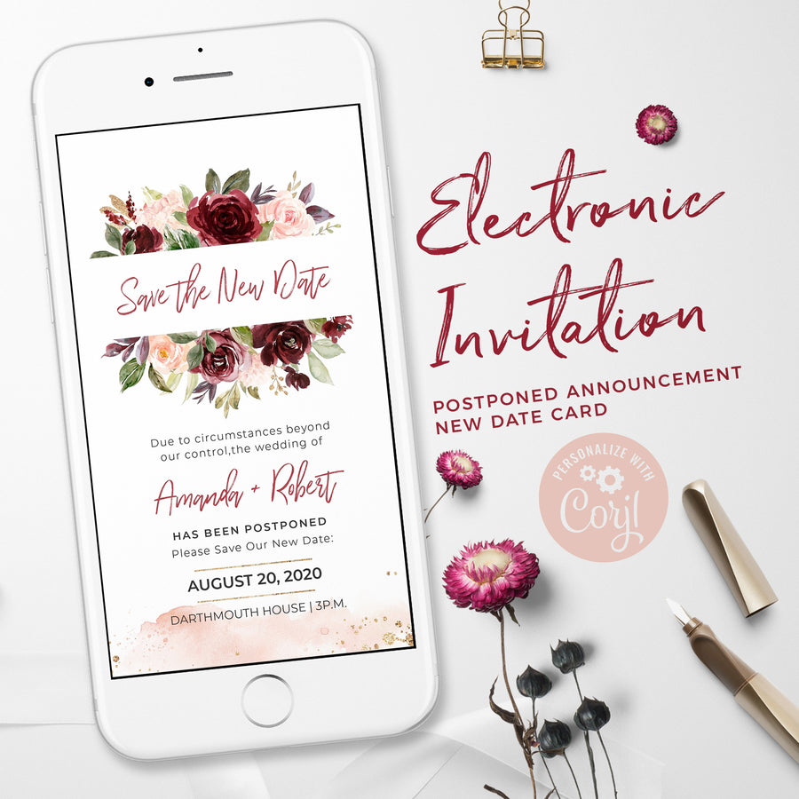 Rossella | Burgundy Floral Change the Date Wedding Card