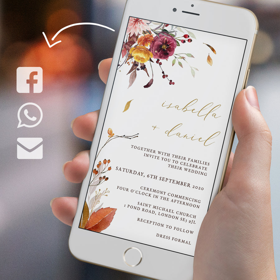 Autumn Wedding Invitation Evite