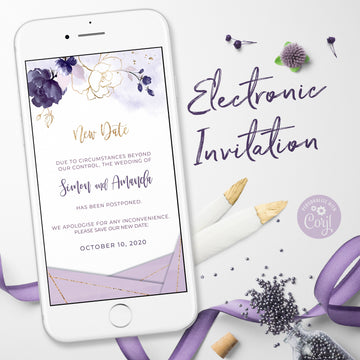 Violetta | Purple Electronic Postponed wedding Announcement