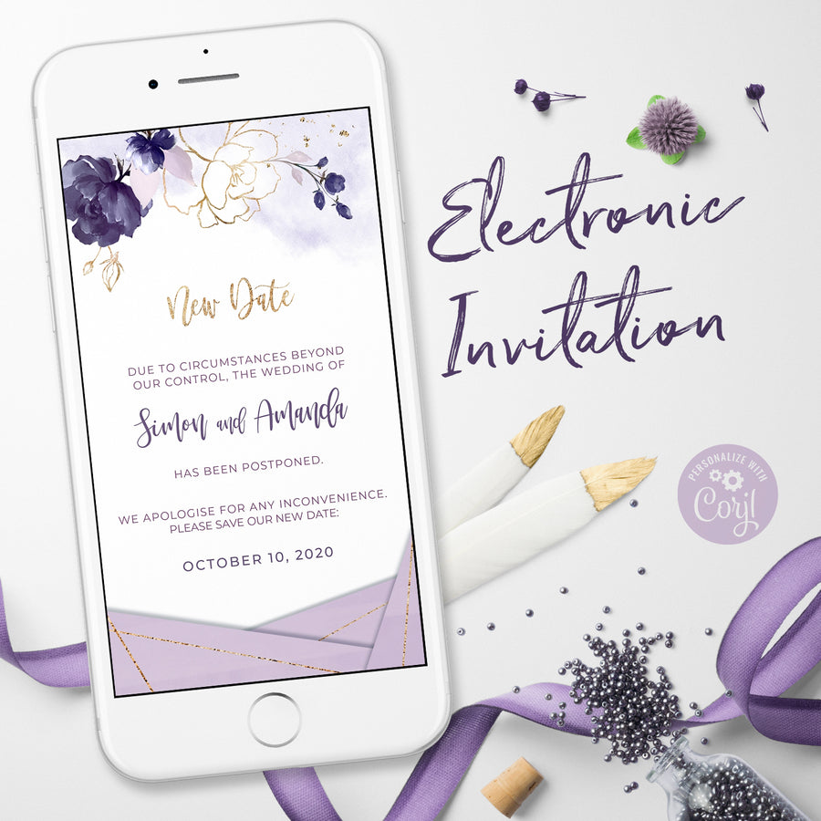 Purple Electronic Postponed wedding Announcement