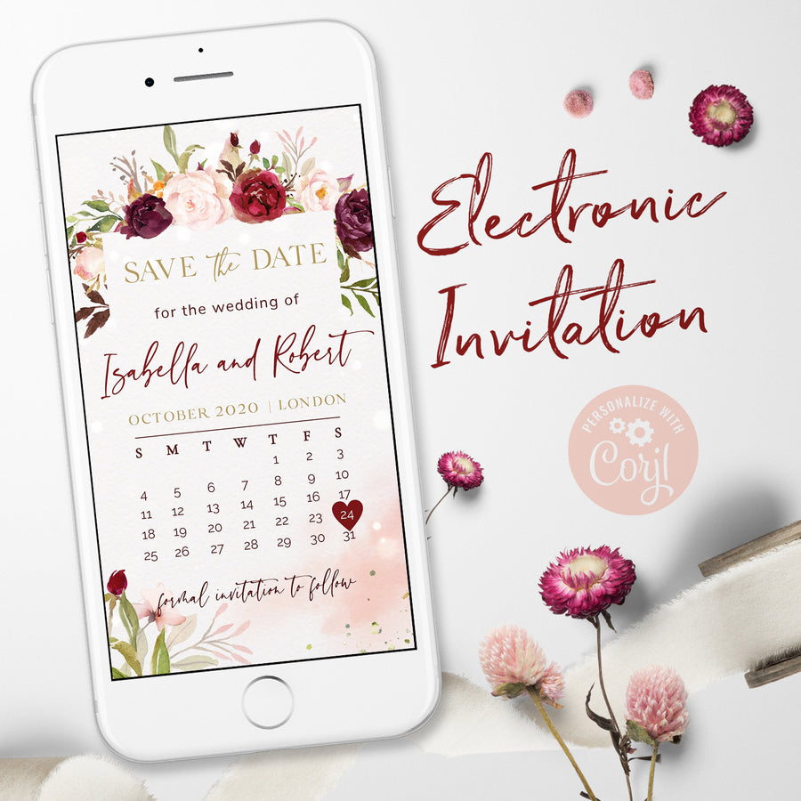 marsala calendar save the date digital invitation