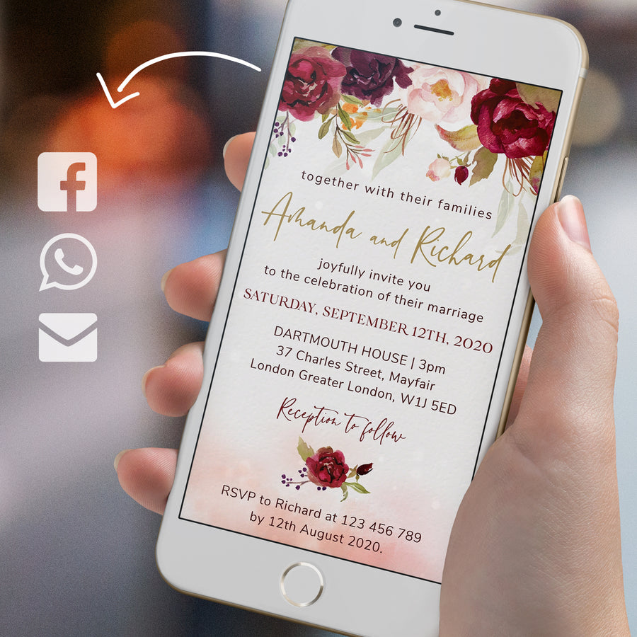 Rosita | Marsala Blush Electronic Wedding Invitation