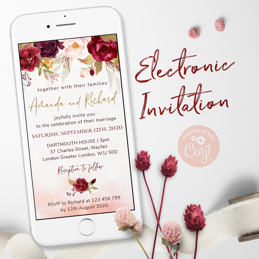 Marsala Blush Electronic Wedding Invitation