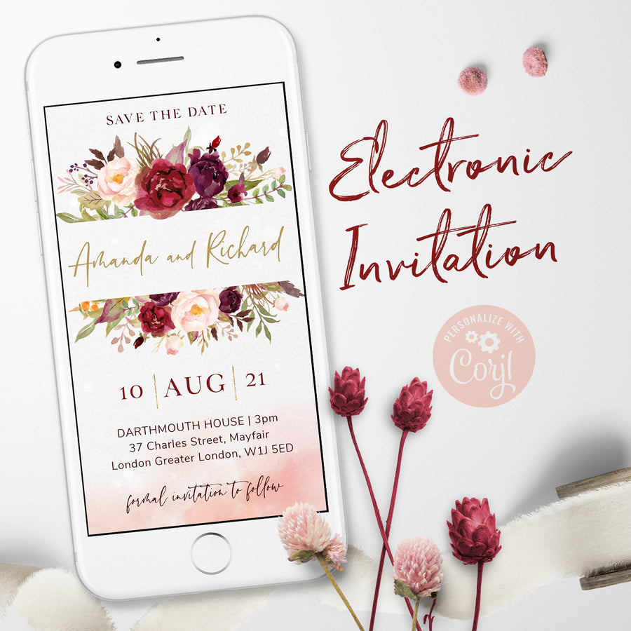 marsala blush electronic save the date