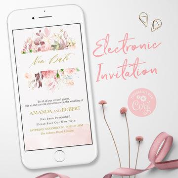 Postponed Wedding Digital Invitation