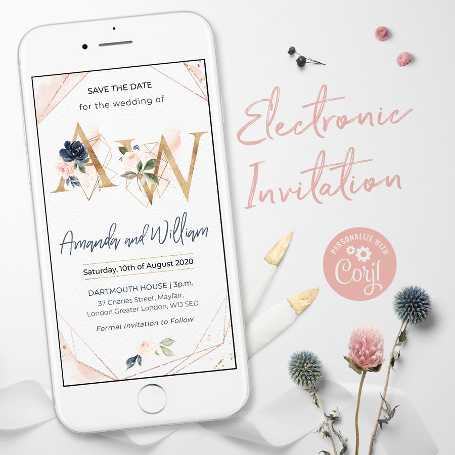 Rose Gold Electronic Save the Date with Monogram