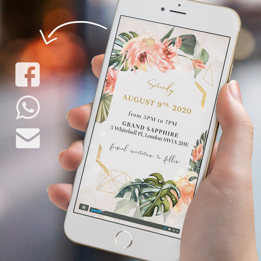 Tropical Wedding Save the Date with Coral and Tropical Leaves