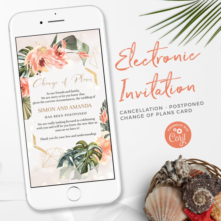Wedding Postponement Announcement Coral & Tropical